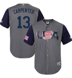 Men's USA Baseball Majestic #13 Matt Carpenter Gray 2017 World Baseball Classic Replica Team Jersey