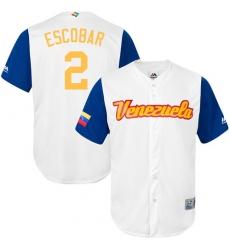 Men's Venezuela Baseball Majestic #2 Alcides Escobar White 2017 World Baseball Classic Replica Team Jersey