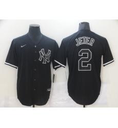 Men's New York Yankees #2 Derek Jeter Authentic Black Nike MLB Jersey