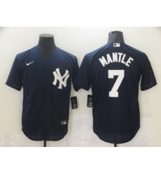 Men's New York Yankees #7 Mickey Mantle Authentic Navy Blue Nike MLB Jersey