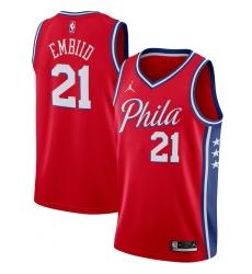 Men's Philadelphia 76ers #21 Joel Embiid Jordan Brand Red 2020-21 Swingman Jersey