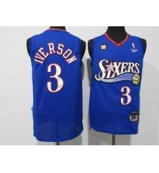 Men's Philadelphia 76ers #3 Dana Barros Blue Swingman Basketball Jersey
