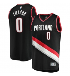 Men's Portland Trail Blazers #0 Damian Lillard Fanatics Branded Black 2020-21 Fast Break Replica Jersey