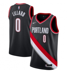 Men's Portland Trail Blazers #0 Damian Lillard Nike Black 2020-21 Swingman Jersey