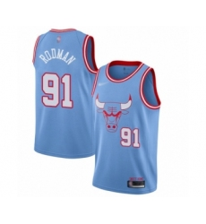 Men's Chicago Bulls #91 Dennis Rodman Swingman Blue Basketball Jersey - 2019 20 City Edition