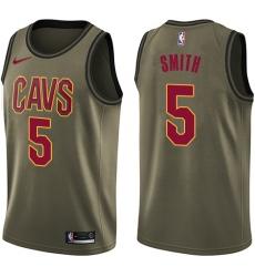 Men's Nike Cleveland Cavaliers #5 J.R. Smith Swingman Green Salute to Service NBA Jersey