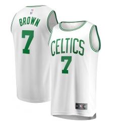 Men's Boston Celtics #7 Jaylen Brown Fanatics Branded White 2020-21 Fast Break Replica Jersey