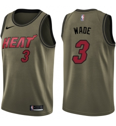Youth Nike Miami Heat #3 Dwyane Wade Swingman Green Salute to Service NBA Jersey