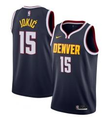Men's Denver Nuggets #15 Nikola Jokic Nike Navy 2020-21 Swingman Jersey