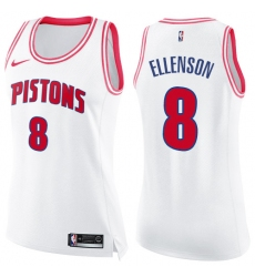 Women's Nike Detroit Pistons #8 Henry Ellenson Swingman White/Pink Fashion NBA Jersey