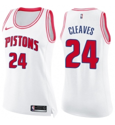 Women's Nike Detroit Pistons #24 Mateen Cleaves Swingman White/Pink Fashion NBA Jersey