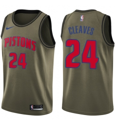 Youth Nike Detroit Pistons #24 Mateen Cleaves Swingman Green Salute to Service NBA Jersey