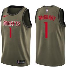 Men's Nike Houston Rockets #1 Tracy McGrady Swingman Green Salute to Service NBA Jersey
