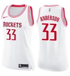 Women's Nike Houston Rockets #33 Ryan Anderson Swingman White/Pink Fashion NBA Jersey