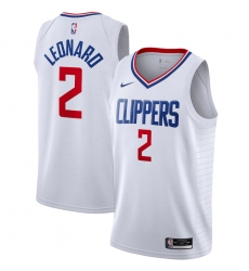 Men's LA Clippers #2 Kawhi Leonard Nike White 2020-21 Swingman Jersey