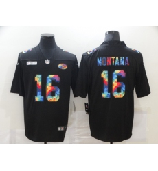 Men's San Francisco 49ers #16 Joe Montana Rainbow Version Nike Limited Jersey