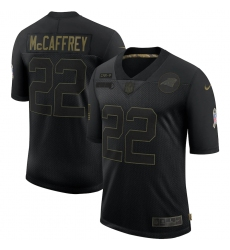 Men's Carolina Panthers #22 Christian McCaffrey Black Nike 2020 Salute To Service Limited Jersey
