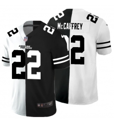 Men's Carolina Panthers #22 Christian McCaffrey Black White Limited Split Fashion Football Jersey
