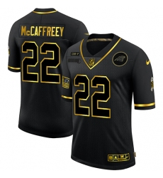 Men's Carolina Panthers #22 Christian McCaffrey Olive Gold Nike 2020 Salute To Service Limited Jersey