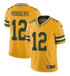 Men's Nike Green Bay Packers #12 Aaron Rodgers Elite Gold Rush Vapor Untouchable NFL Jersey