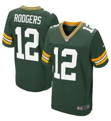 Men's Nike Green Bay Packers #12 Aaron Rodgers Elite Green Team Color NFL Jersey