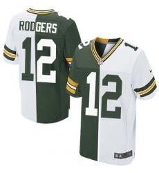 Men's Nike Green Bay Packers #12 Aaron Rodgers Elite Green/White Split Fashion NFL Jersey