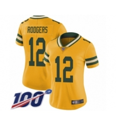 Women's Green Bay Packers #12 Aaron Rodgers Limited Gold Rush Vapor Untouchable 100th Season Football Jersey