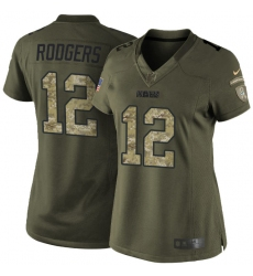 Women's Nike Green Bay Packers #12 Aaron Rodgers Elite Green Salute to Service NFL Jersey