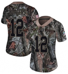 Women's Nike Green Bay Packers #12 Aaron Rodgers Limited Camo Rush Realtree NFL Jersey