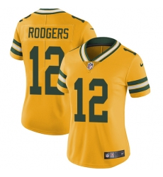 Women's Nike Green Bay Packers #12 Aaron Rodgers Limited Gold Rush Vapor Untouchable NFL Jersey