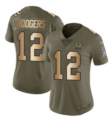 Women's Nike Green Bay Packers #12 Aaron Rodgers Limited Olive/Gold 2017 Salute to Service NFL Jersey