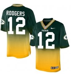 Youth Nike Green Bay Packers #12 Aaron Rodgers Elite Green/Gold Fadeaway NFL Jersey