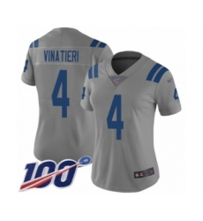 Women's Indianapolis Colts #4 Adam Vinatieri Limited Gray Inverted Legend 100th Season Football Jersey